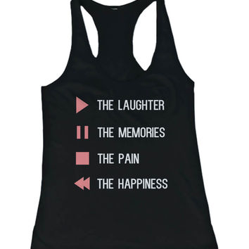 Women's Cute Tank Top - Control Button - Cute Gym Clothes, Workout Shirts