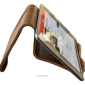 Natural Walnut Wood iPad and Cook Book Stand | MultiAngle For iPhone iPad AirPro Surface Pro Samsung GalaxyNote Google Nexus  Pixel HTC LG Nokia OnePlus Kindle EReaders