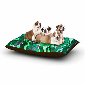 "Ebi Emporium ""Frosty Bouquet 7"" Green Abstract Dog Bed"