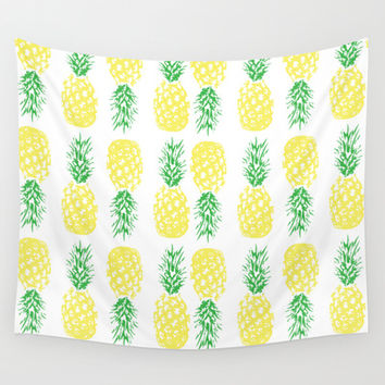 Pineapples  Wall Tapestry by Ashley Hillman