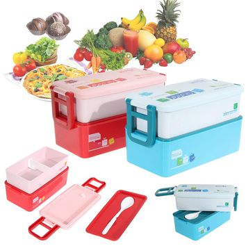 Children Food Container Kids Beto Lunch Box 2 layer Student Food Tablewares 850ML Portable Boxes For Lunch Flatware Set