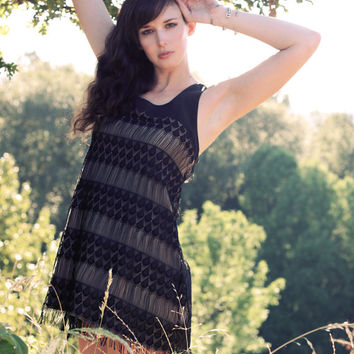 Bohemian fringe dress - vintage flapper style lace, night little black date dress - s m l