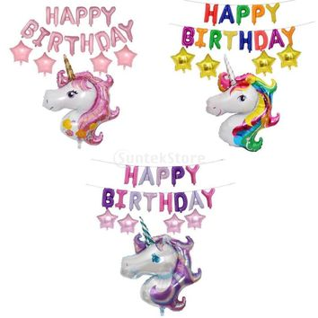 Lovely Unicorn Happy Birthday Foil Party Balloons Banner Set Party Decoration