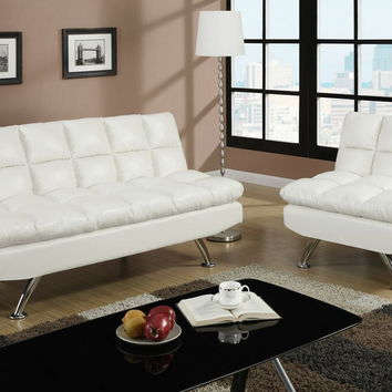 Poundex F7015-16 2 pc cream faux leather upholstered futon sofa bed and chair with chrome legs