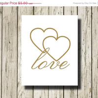 ON SALE LOVE Hearts Golden Quotes and Signs Digital Art Print Instant Download Wall Art Home Decor G029