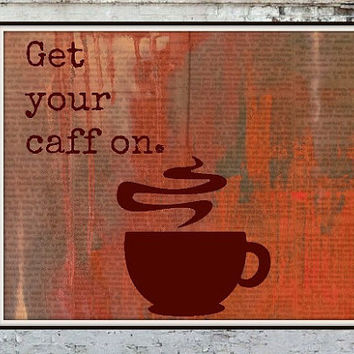 Coffee Cup Mixed Media Water Color 8x10 print Cafe Coffee Kitchen Morning