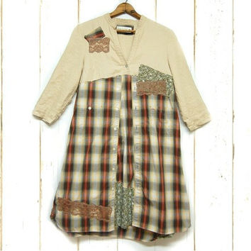 Boho Chic Shift Dress, Large Plaid Farm Girl Dress, Linen and Cotton, Large Womens Upcycled Clothing, Lagenlook, Anthropologie Inspired