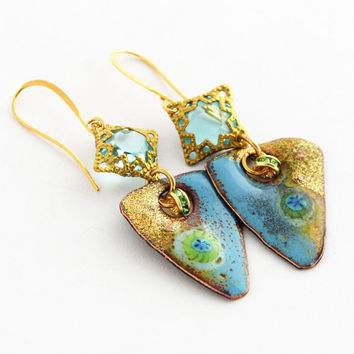 Tide Pools: Enameled Copper Artisan Earrings, Aqua Blue and Gold Enamel Earrings, Handcrafted Earrings, One of a Kind Unique Gift, SRAJD