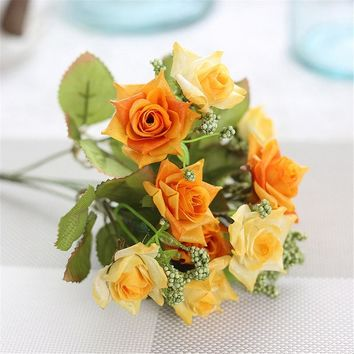 1 Branch PU Rose Bouquet artificial flowers Wedding Home Decorative Flowers Home Decoration Flower 9 Colors