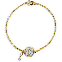 David Yurman - Cable Collectibles Lock Bracelet with Diamonds in Gold - Saks Fifth Avenue Mobile