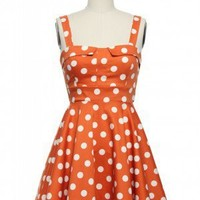 Pin-Up Polka Dots Dress in Orange