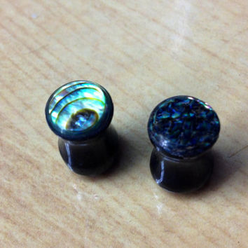 Black jade and abalone gauges/plugs--Item #116