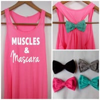 Muscles and Mascara Tank, Bow Tank Top, Workout Tank, Fitness Tank, Workout Bow Tank