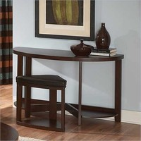 Homelegance Brussel II Console Table with Stool in Cherry