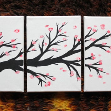 Three Canvas Cherry Blossom Painting - 5x7 and 6x8