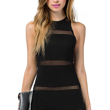 Voile Splicing Sleeveless Bodycon Dress