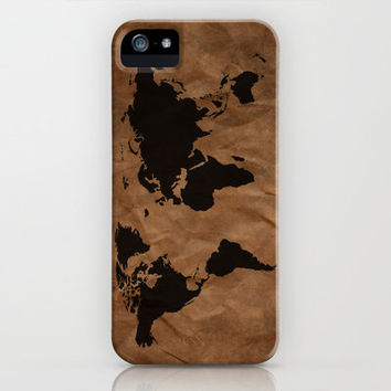 Old Wrinkled World Map iPhone Case by Nicklas Gustafsson
