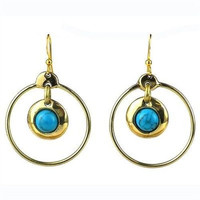 Encircled Turquoise Brass Earrings - Brass Images (E)