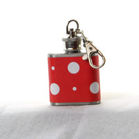 1oz Stainless Steel Keychain Flask with white polka dots on white wrap