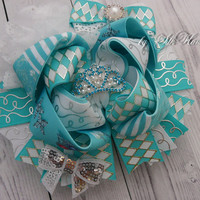 OTT tiara bow  - Crown Blue, white, aqua Inspired Hair Bow  -  Paw Patrol Birthday - Over the Top Bow - Princess  party - Girls Hair Bows