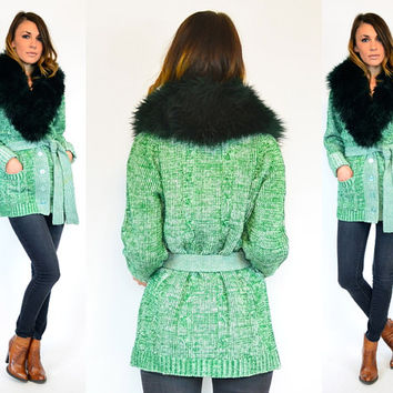 forest green & white BOHEMIAN warm LAMB shearling FUR hippie sweater cardigan, extra small-medium