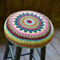 "Shabby Chic Stool 30""  high with Granny Square Crochet Cover Black Multicolor Upcycle Recycle"