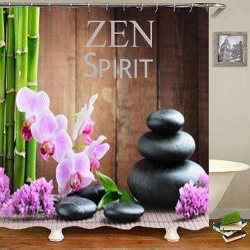 Hot Classic Zen Spirit Shower Curtains Bathroom Curtain Bamboo Spa Stones Pink Orchid Bath Curtains Home Decor Waterproof 72inch