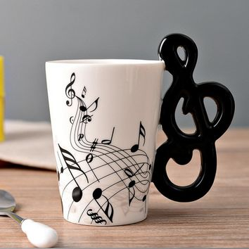 Novelty Guitar Ceramic Cup Personality Music Note