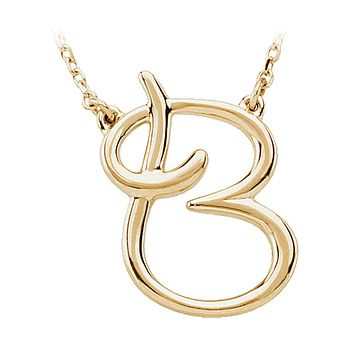 Script initial Necklace in 14k Yellow Gold, Letter B