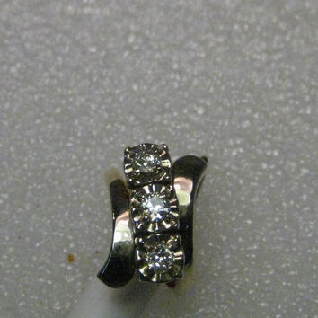 Vintage 14kt Gold Natural Diamond Engagement Ring, Old Mine Cut, .60+ tcw, size 6, yellow/white gold