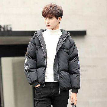2017 Winter Young Men Parkas Casual Padded Jacket Coat Men Hooded Cotton Thick Casual Warm Snow Windbreaker Overcoat Male Jacket