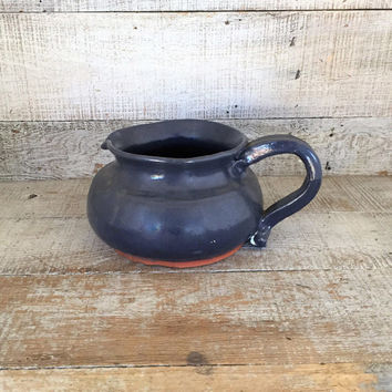 Pitcher Blue Pottery Pitcher Handmade Pottery Planter Ceramic Flower Vase Farmhouse Chic Pottery Pitcher Folk Art Pitcher Indoor Planter