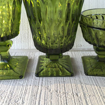 Vintage mismatched green goblets, avocado green Mt Vernon Indiana glass, green glass ice tea, water glass, sherbet goblet, vintage glassware