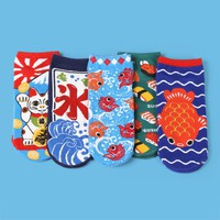 Japanese Style Ankle Sock Set (Set of 5)
