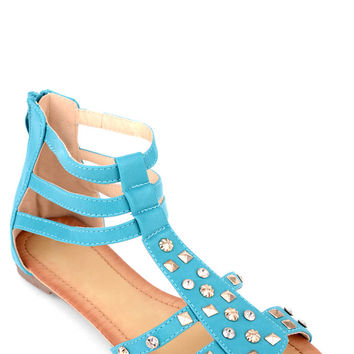 Studded Zipped Gladiator Sandals
