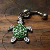 Sea Turtle Rhinestone Dangle Belly Button Ring