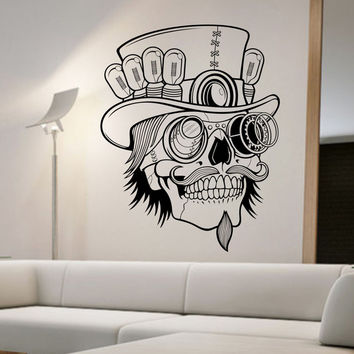 Skull wall sticker Skull punk rock creative personality removable vinyl wall art stickers ,sugar skull decals free shipping