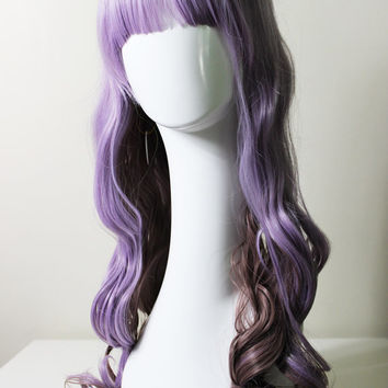 Multicolor  lavender and chocolate brown lolita cosplay wig 27.5 inches long