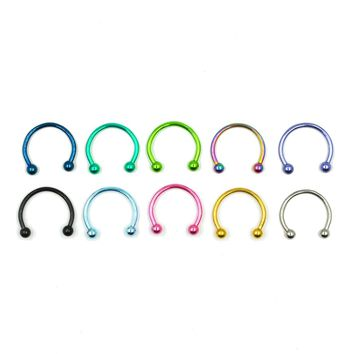 Anodized Colorful Circular Barbell Piercing Horseshoe Body Jewelry 16g