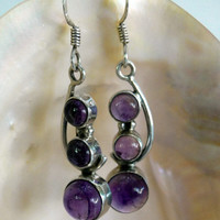 On SALE Vintage Amethyst Earrings 3 Stone Natural Amethyst Sterling Earrings
