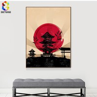 Japanese Art Print Ink Painting Tower Wall Hanging Poster Picture for Living Room Decoration Home decor