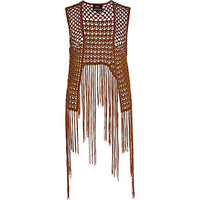 River Island Womens Brown beaded crochet dip hem vest
