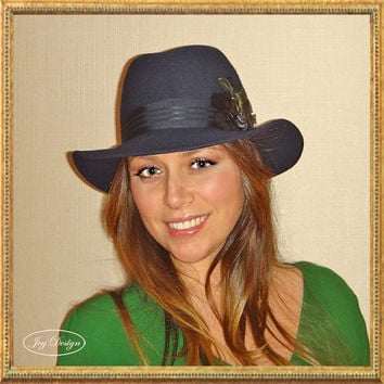 """Reconstructed Women's """"Madcaps"""" Vintage 100 Percent Navy Wool Fedora Hat with a Black and Green Feather Pad and Vintage Australian Button"""