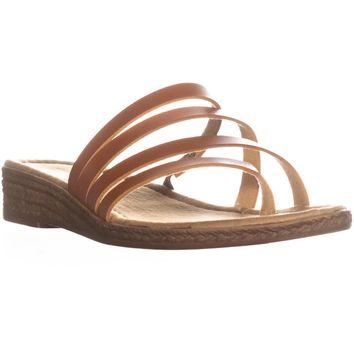Seven Dials Brennan Slip on Wedge Sandals, Cognac, 8.5 US