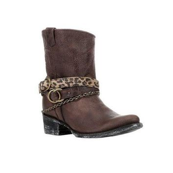 DCCKAB3 Corral Brown Mixed Strap Leather Boots C2805