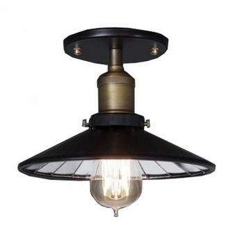 Countryside retro edison ceiling lamp light with inner glass shade