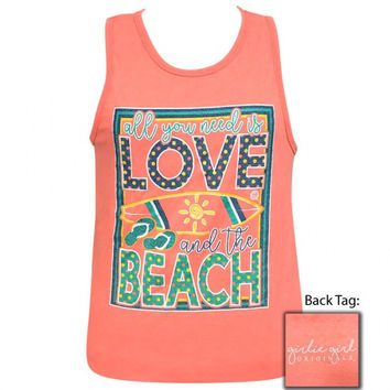 Girlie Girl Preppy Love And The Beach Tank Top