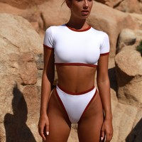 Tomboy Colour Contrast High Waisted Thong Bottoms in White & Red
