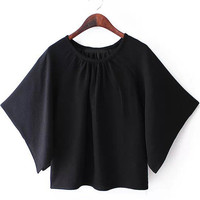 Black Pleated Round Neckline Flare Sleeve Blouse