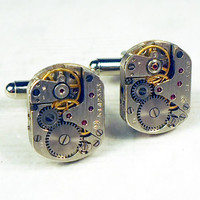 Watch movement steampunk silver cuff links item CR 1